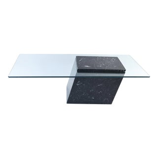 1970s Post Modern Black Marble & Glass Cocktail Table For Sale