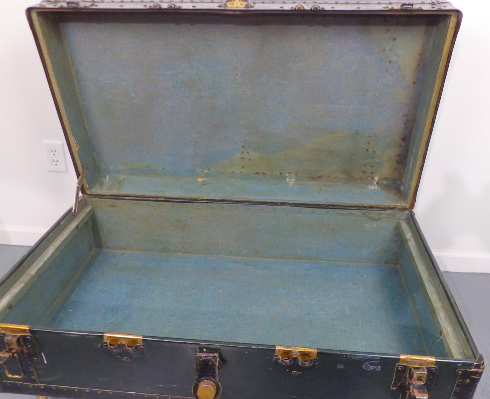 Antique Green Metal Steamer Trunk Coffee Table Chairish
