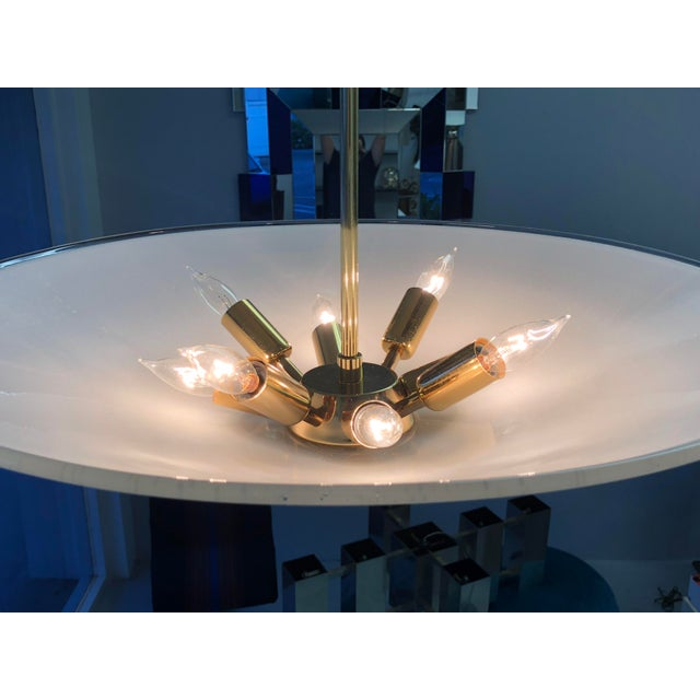 Metal Barovier Murano Glass Disk Chandelier, 1960s For Sale - Image 7 of 13