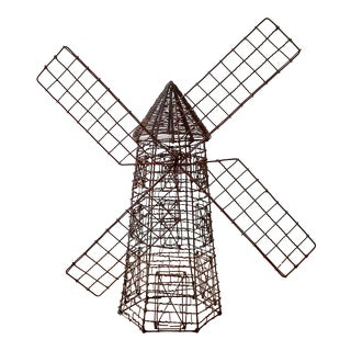 1960s Dutch Wire Windmill Sculpture For Sale