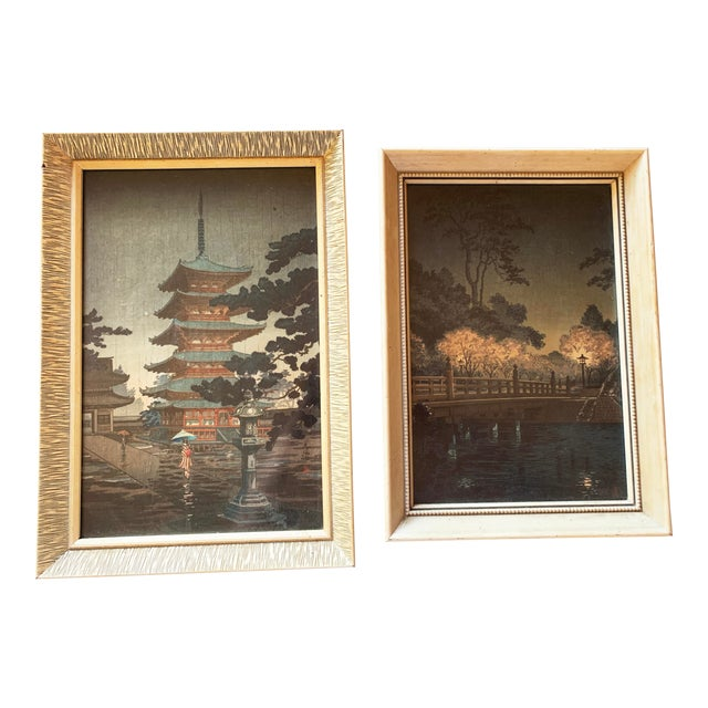 Japanese Woodblock Framed Reproduction Prints - a Pair For Sale