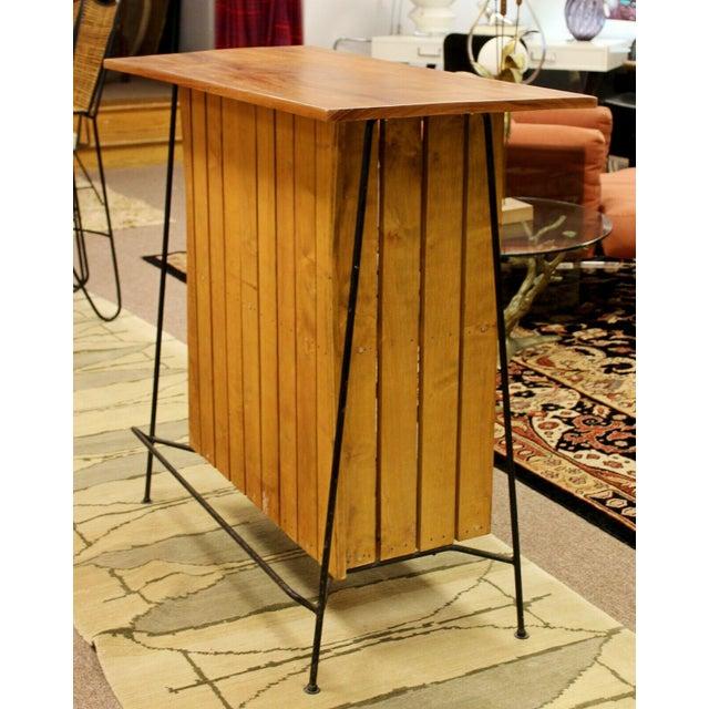 Brown Mid Century Modern Arthur Umanoff for Raymor Iron & Wood Slat Standing Bar 1950s For Sale - Image 8 of 13