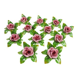 Porcelain Roses Place Card Holders - Set of 12 For Sale
