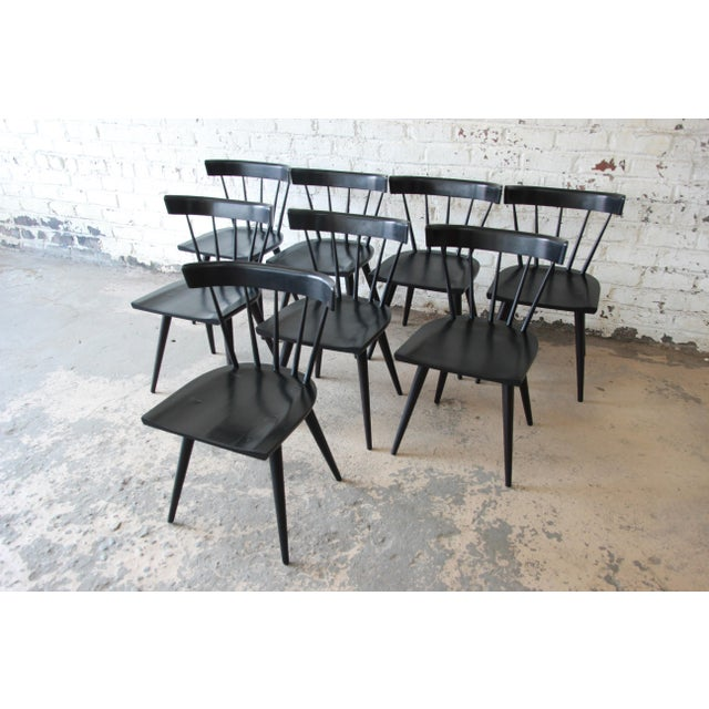 Maple Set of Eight Paul McCobb Ebonized Planner Group Dining Chairs For Sale - Image 7 of 13