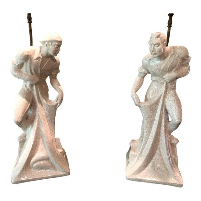 1950s Japanese Figurative Porcelain Fishermen Lamps - a Pair For Sale