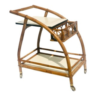 Vintage Art Deco Bamboo Rattan Bar Cart For Sale