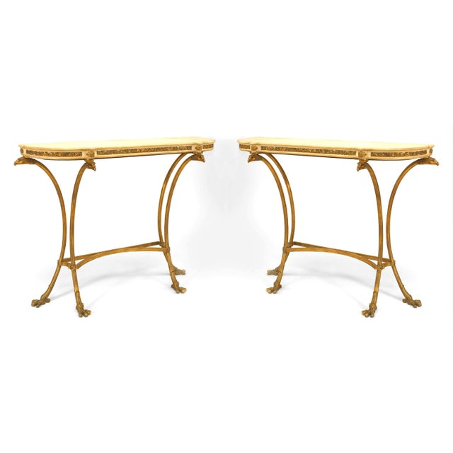 Gold Pair of French Louis XVI Style Bronze Doré Console Tables For Sale - Image 8 of 8