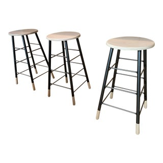 Wood and Metal Bar Stools - Set of 3 For Sale