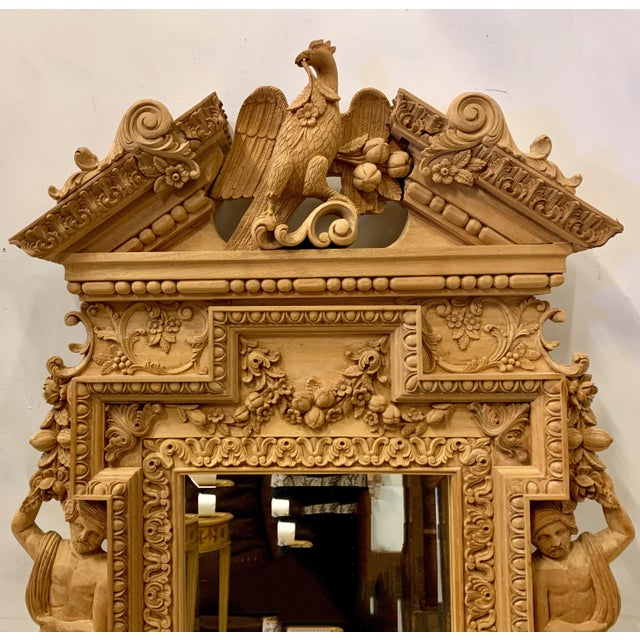 Monumental Neo-Classical Style Carved Mirror For Sale In Atlanta - Image 6 of 7