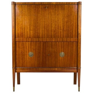 Art Deco De Coene Bar Cabinet, Kortrijk, Belgium With Bronze Medallions For Sale