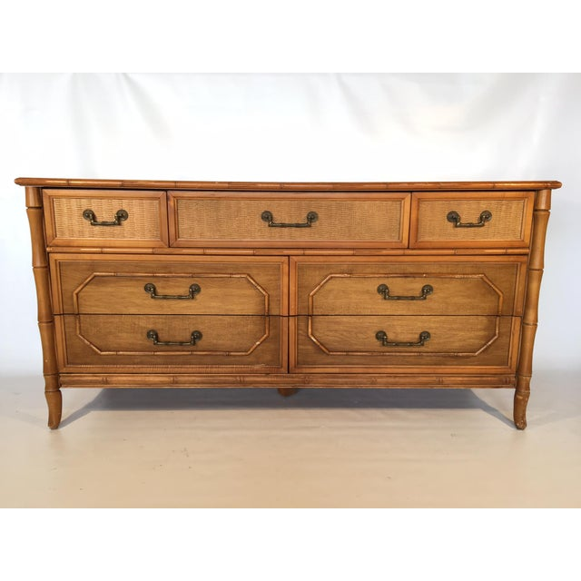 Boho Chic Caned Rattan and Faux Bamboo 7-Drawer Dresser by Broyhill For Sale - Image 3 of 8