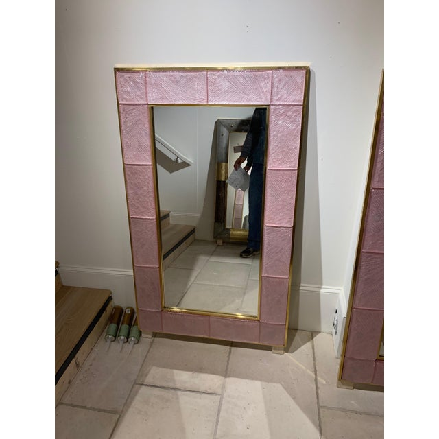 Early 21st Century Early 21st Century Modern Pink Murano Glass and Brass Mirror For Sale - Image 5 of 9