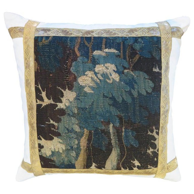White 18th Century Verdure Tapestry Pillow For Sale - Image 8 of 8