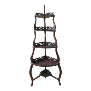 20th Century Contemporary Tall Carved Corner Wooden Shelf For Sale
