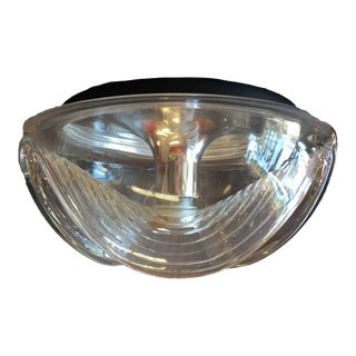 Peill & Putzler Clear Glass & Chrome Wave Ceiling Light For Sale