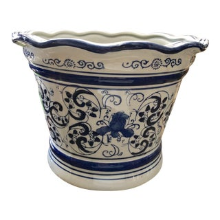 Blue & White Jardiniere For Sale