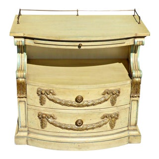 Vintage Karges French Provincial Carved Cream & Gold Gilt Nightstand For Sale