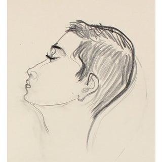 Michael DI Cosola Modernist Portrait in Graphite, Late 20th Century Drawing For Sale