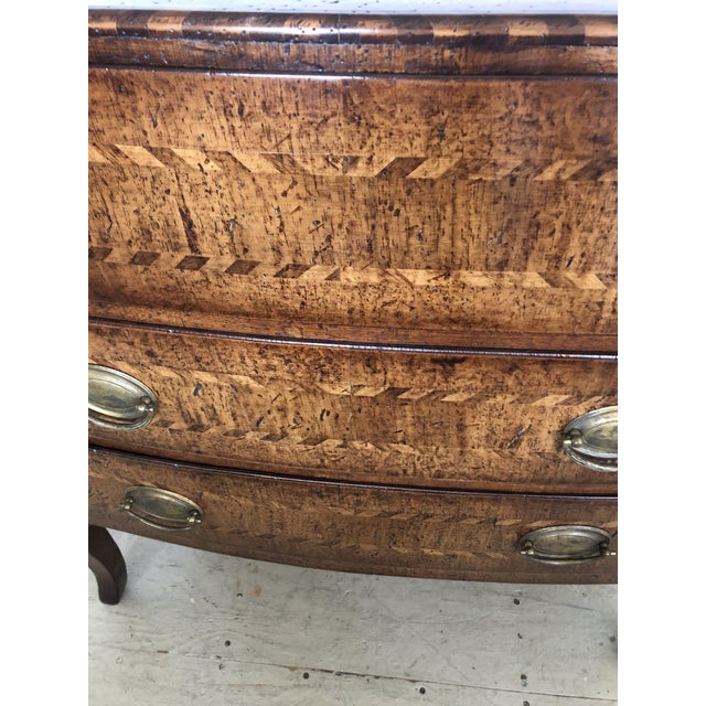 1980s Burled Walnut Chest of Drawers With Beautiful Inlay For Sale - Image 5 of 10