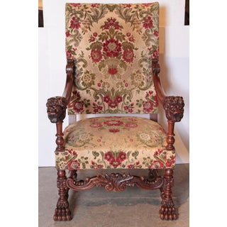 Pair of Antique Louis XIV Style Walnut Wood Armchairs From France Preview