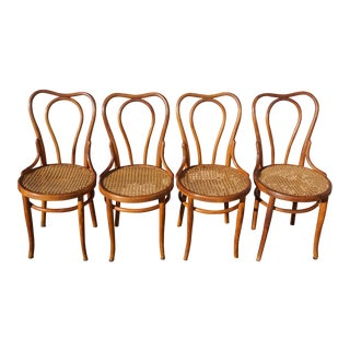 1940s Antique Thonet-Style Bentwood Heavy Cane Woven Seat Parlor Bistro Chairs - Set of 4 For Sale