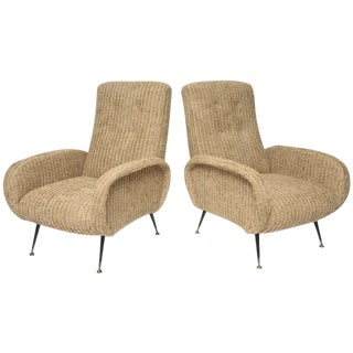 Mid-Century Italian Lounge Chairs with Original Metal and Brass Legs - a Pair For Sale