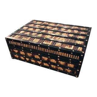 Anglo Ceylonese Ebony and Porcupine Quill Box, Exterior Decorated With Bands of Porcupine Quills Between Borders of Ebony Inlaid With White Circles. For Sale