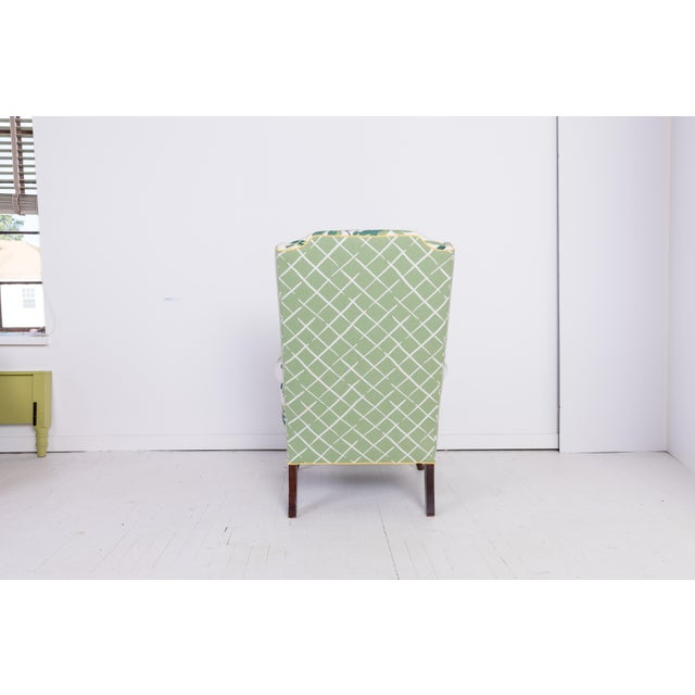 1960s Vintage Palm Leaf Pattern Fabric Wingback Chair For Sale - Image 4 of 13