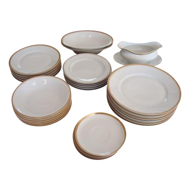 Gold And White Bavaria Dishes - Set of 30 - Image 1 of 11