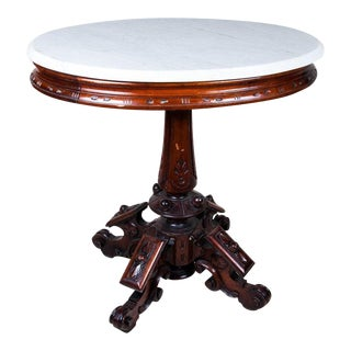 Victorian Eastlake Renaissance Revival Marble Top Table, Accent Table For Sale