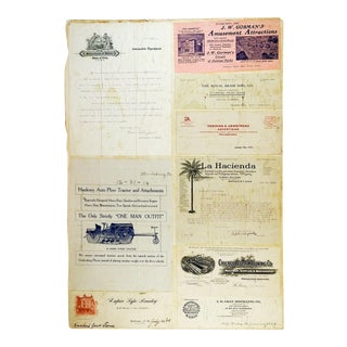 Mounted Collection of Antique Farm Letterhead Graphics For Sale