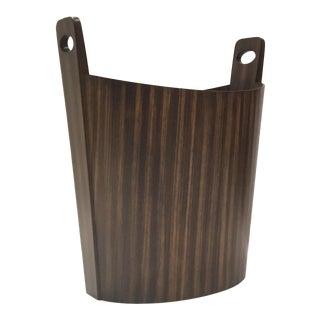 Global Views Modern Zebra Wood Wastbasket For Sale