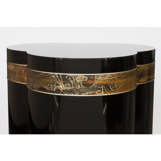 Bernhard Rohne Black Lacquer Brass Pedestal Dining Table - Image 4 of 9