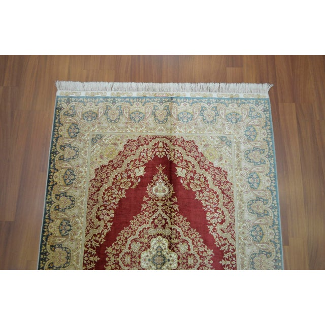 Hand Knotted Turkish Silk Rug - 4′1″ × 5′11″ - Image 6 of 9