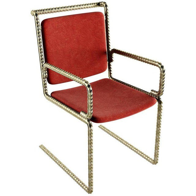 Metal 21st Century Custom Contemporary Steel Frame Suede Leather Seat & Backrest Chair For Sale - Image 7 of 10