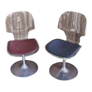 Pair of Lucite and Chrome Swivel Side Chairs