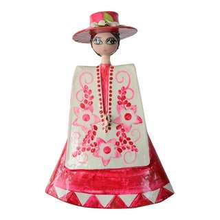 Vintage Gemma Taccogna Style Mexican Paper Mache Pink Lady Figurine