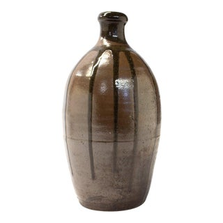 Japanese Stoneware Sake Bottle For Sale