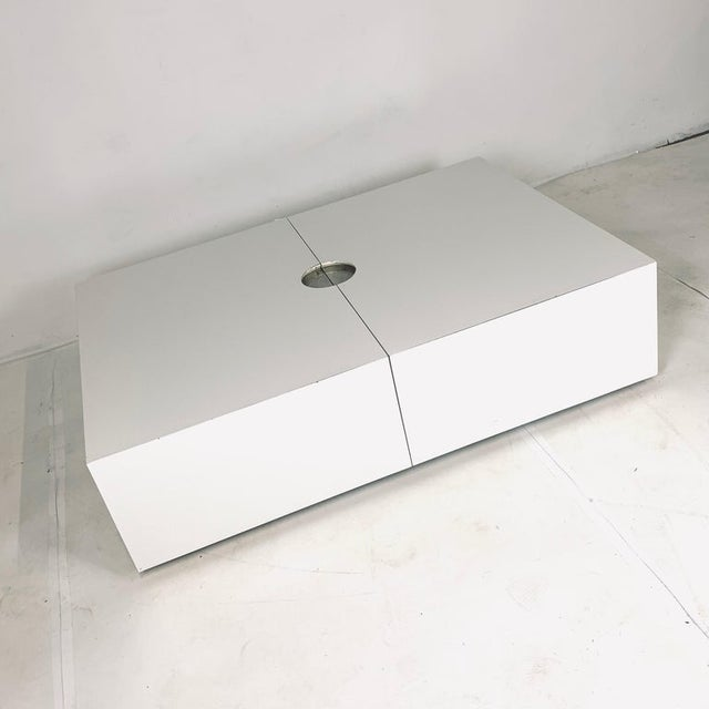 Op-Art Pop White & Stainless Convertible Storage Bar / Coffee Table For Sale - Image 9 of 11