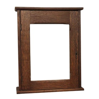 Antique Oak Wall Medicine Cabinet With Mirror & Key For Sale