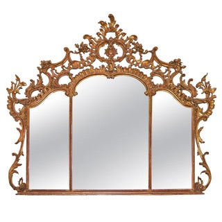 19th Century Louis XV Over Mantel Giltwood Mirror For Sale