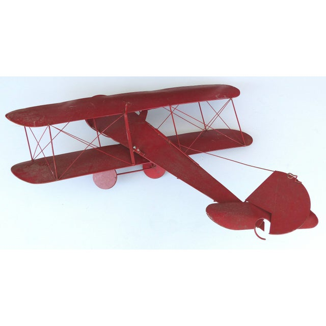 Pink Large Three Dimensional Iron and Brass Wall Sculpture of an Airplane in Flight For Sale - Image 8 of 10