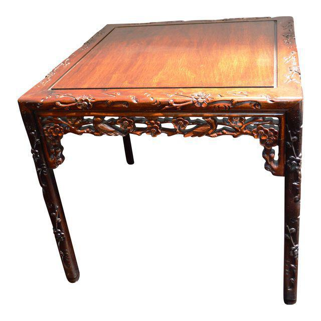 1980s Chinese Asian Rosewood Lacquered Plum Blossom Design Bird Square Side Coffee Table Ming Style Handmade For Sale - Image 5 of 5