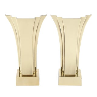 PAIR OF PETIT ART DECO REVIVAL BRASS ACCENT LAMPS BY STIFFEL, CIRCA 1970S