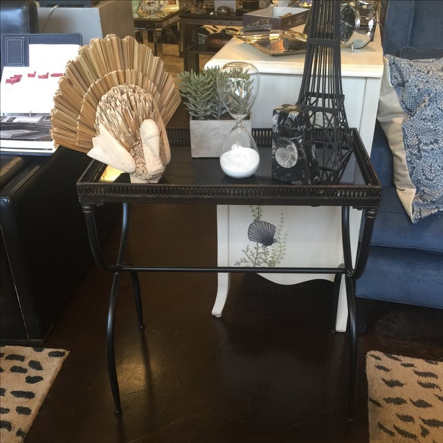 Black Granite Accent Table For Sale - Image 4 of 7