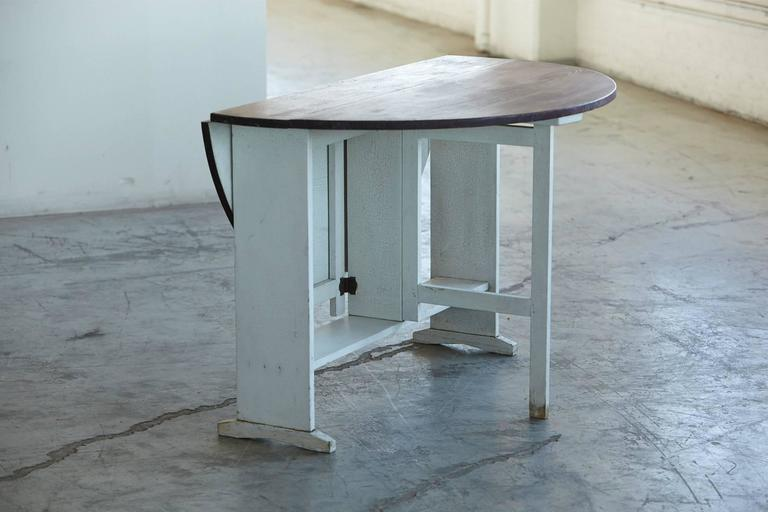 Painted Gate Leg And Drop Leaf Pine Farm Table   Image 5 Of 8