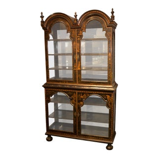 19th Century English Queen Anne Black Chinoiserie Decorated Display Cabinet For Sale