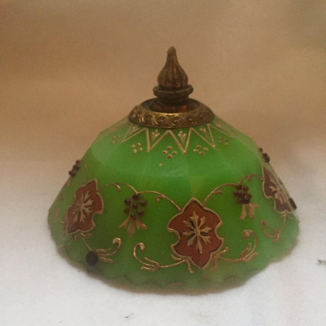 Moroccan Gilted Jadeite Glass Hanging Votive - Image 5 of 8