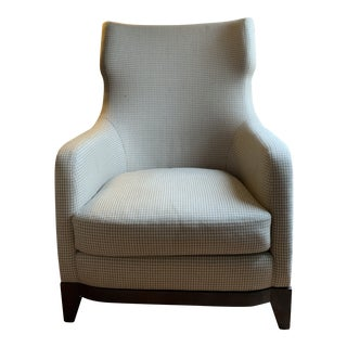Modern Powell and Bonnell Tan Houndstooth Wing Chair For Sale