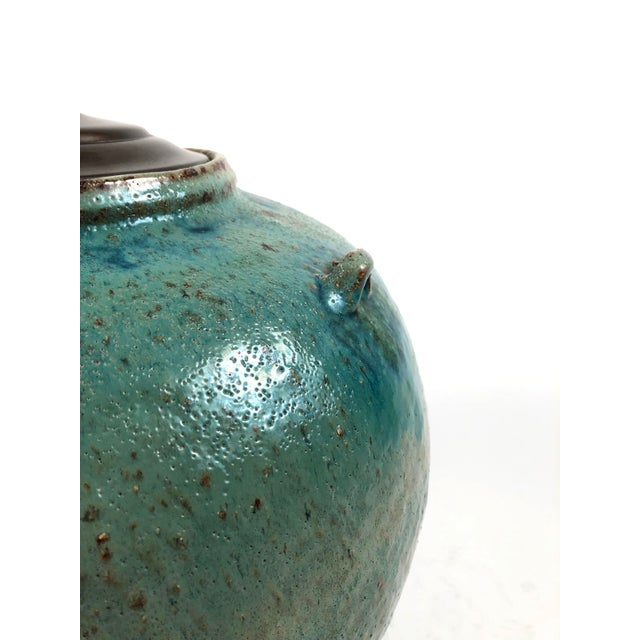 Large Green Glazed Art Pottery Lamp For Sale - Image 4 of 13